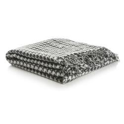 Pledd i pepita mønster lys grå/mørk grå 125x150 cm