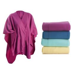 Poncho fleece 4 ass farger 120x160 cm