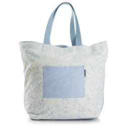 Strandveske hvit m/blått mønster Songvaar