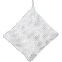 Gryteklut strikket hvit 20x20 cm