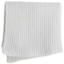 Strikkeklut i hvit perlestrikk 25x25 cm