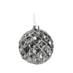 Julekule Snøball m/glitter sølv Ø:8 cm
