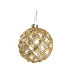 Julekule Snøball m/glitter gull Ø:8 cm