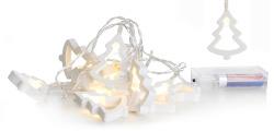 Lyslenke hvite juletre 10 lys LED batteri