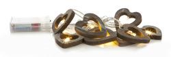 Lyslenke hjerter 2 ass 10 LED-lys L:185 cm for batteri