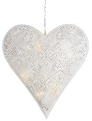 Hjerte hvit 10 LED m/batteriboks