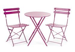 Bistrosett stål rosa