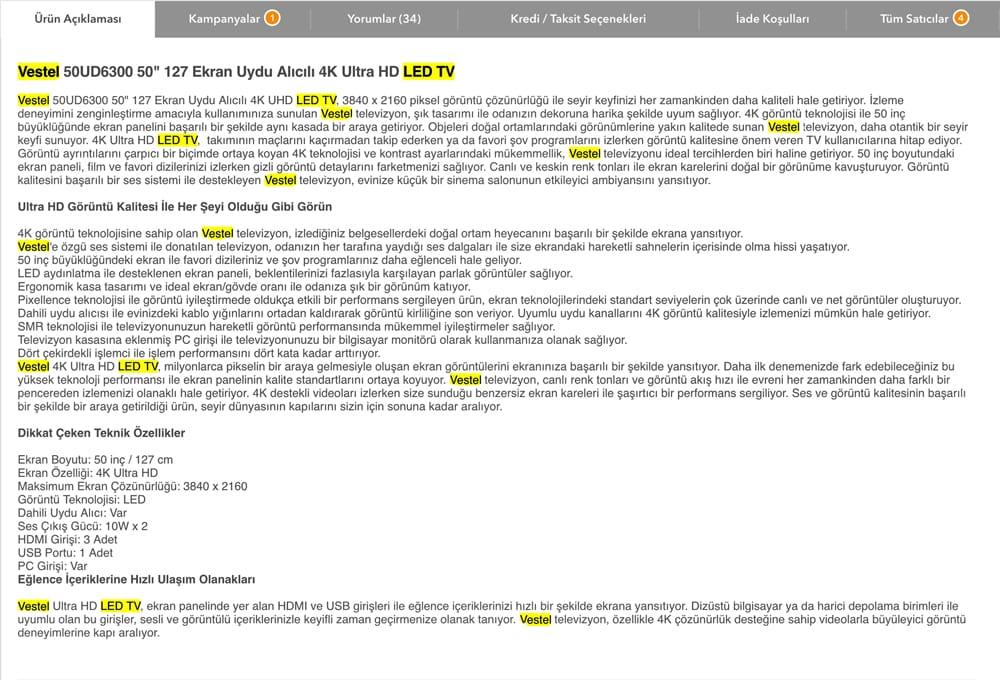 Hepsiburada örnek ürün açıklaması - E-ticaret SEO