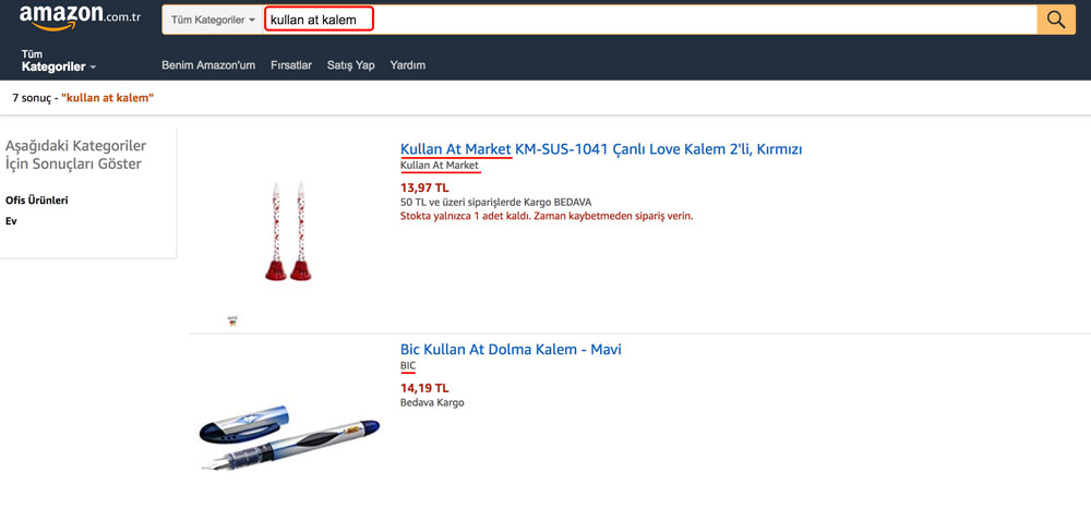Amazon.com.tr Kullan At Kalem Araması