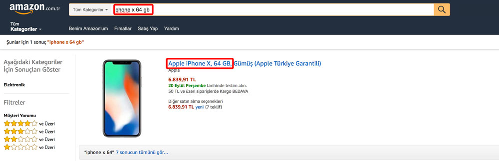 iPhone X 64 GB Araması - Amazon.com.tr