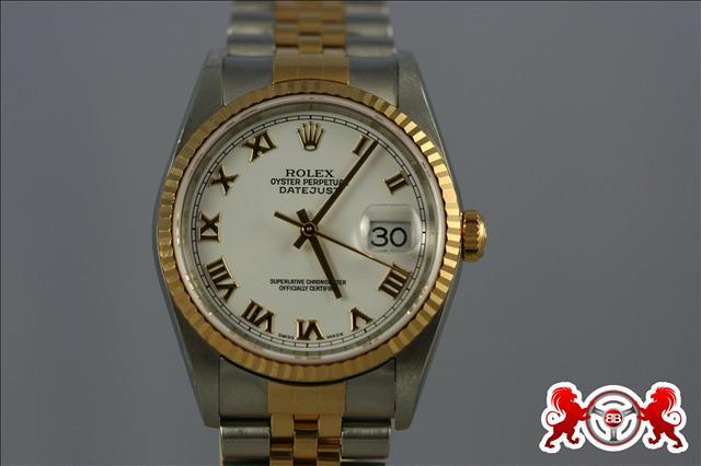 1900 Rolex Datejust SS & 18kt White Roman Dial
