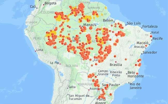 Focos de queimadas em terras indígenas