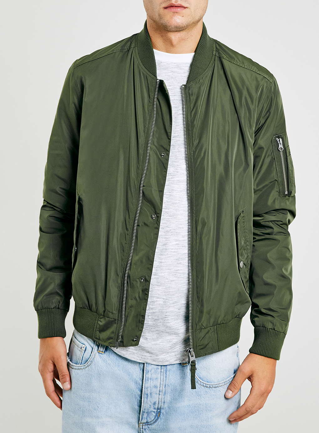 Very Goods Khaki Bomber Jacket Mens Coats Jackets Clothing