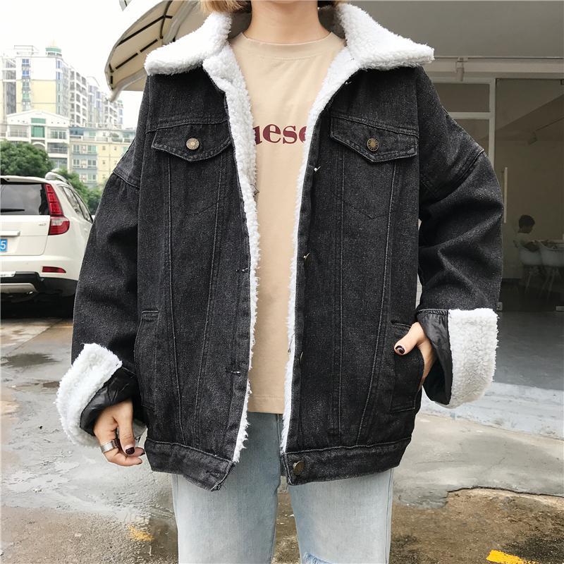 Very Goods Itgirl Shop Black Denim Buttons Fluffy White Collar