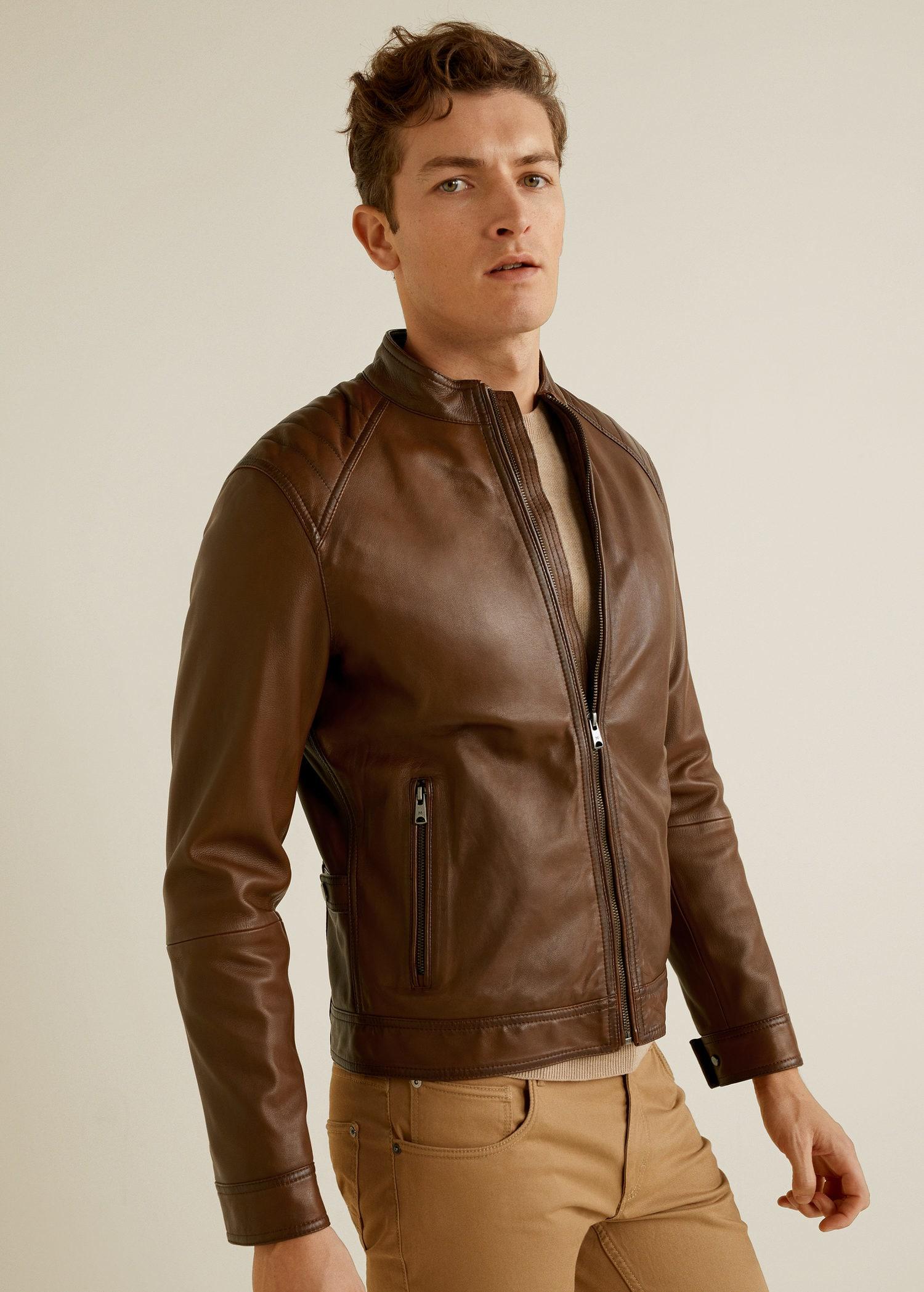 Very Goods Leather Biker Jacket Men Mango Man Usa