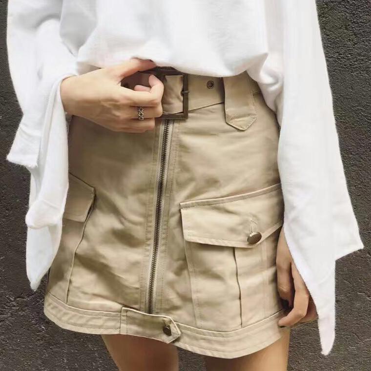 Very Goods Itgirl Shop Safari Belt Pockets Above Knee Skirt