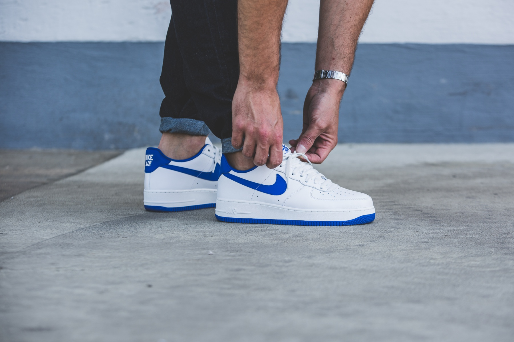 Nike Air Force 1 Low Retro (weiß / blau) - 845053-102 | 43einhalb sneaker  store
