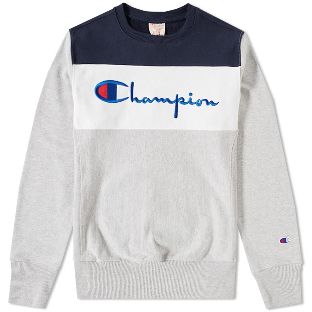 41914052 Very Goods   Champion Reverse Weave Block Crew Sweat (Grey, White ...