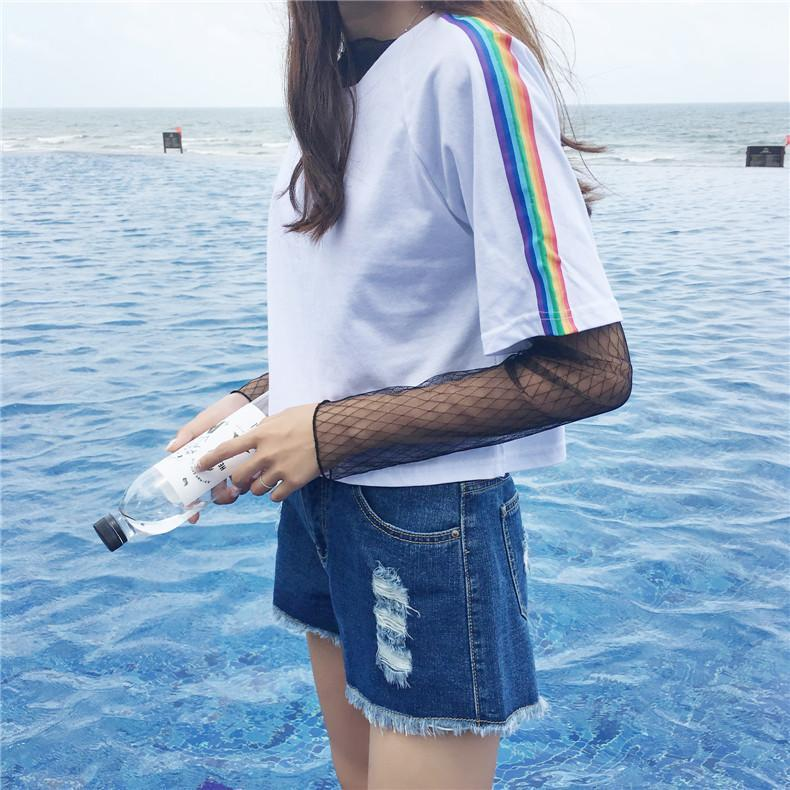 4625b3a4ec Very Goods | itGirl Shop | RAINBOW STRIPE LINE BLACK WHITE COTTON T-SHIRT