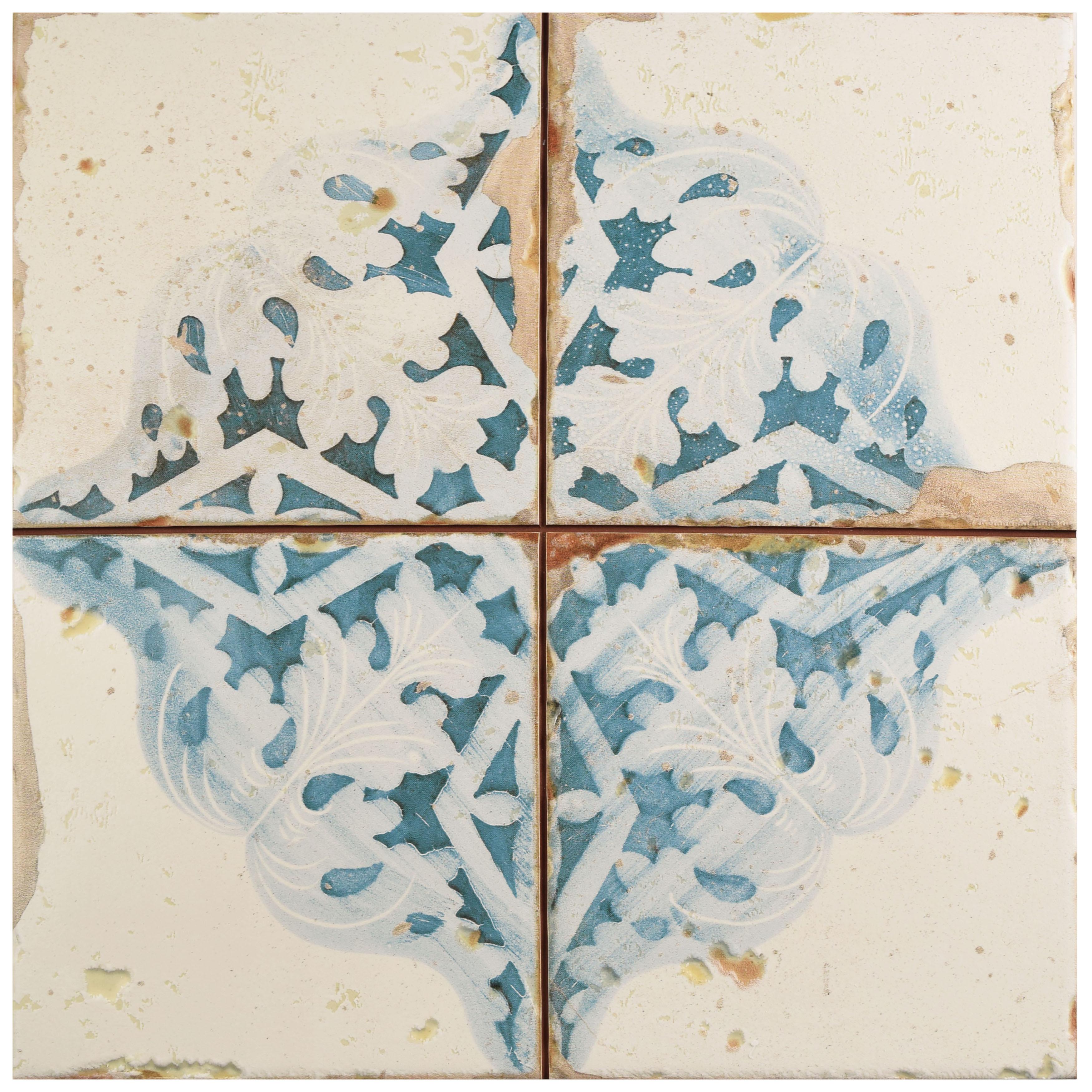 Very Goods Somertile 13x13 Inch Artesano Azul Dcor Ceramic Floor