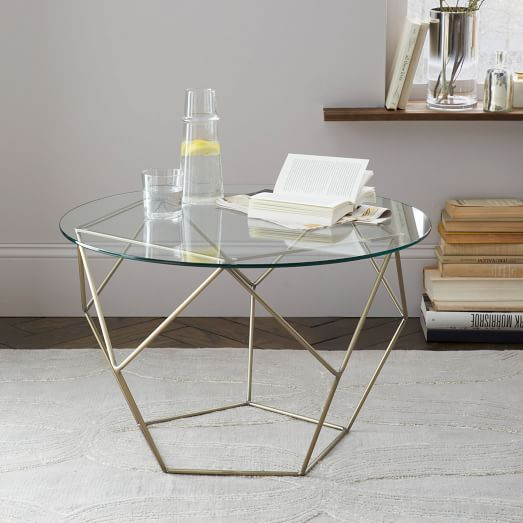 Very Goods Origami Side Table GlassAntique Brass West Elm - West elm glass side table