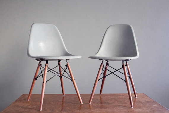 Very Goods | Eames Seafoam DSW Side Chairs For Herman Miller Vintage  Fiberglass Matching Pair