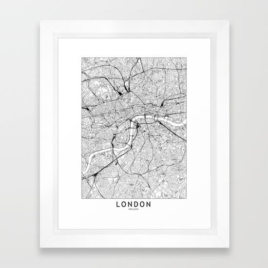 Very Goods | London White Map Framed Art Print by MultipliCITY ...