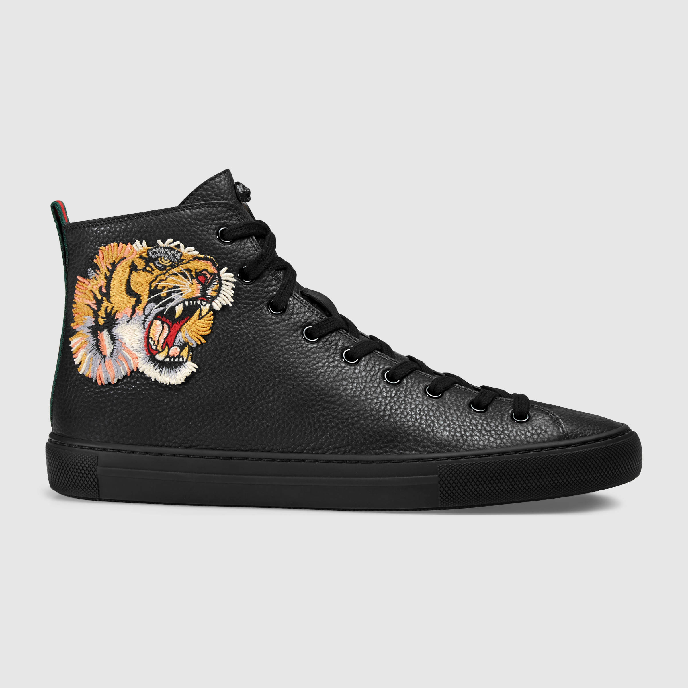 08dcd3f25 Very Goods   Leather high-top with tiger - Gucci Men's Sneakers ...