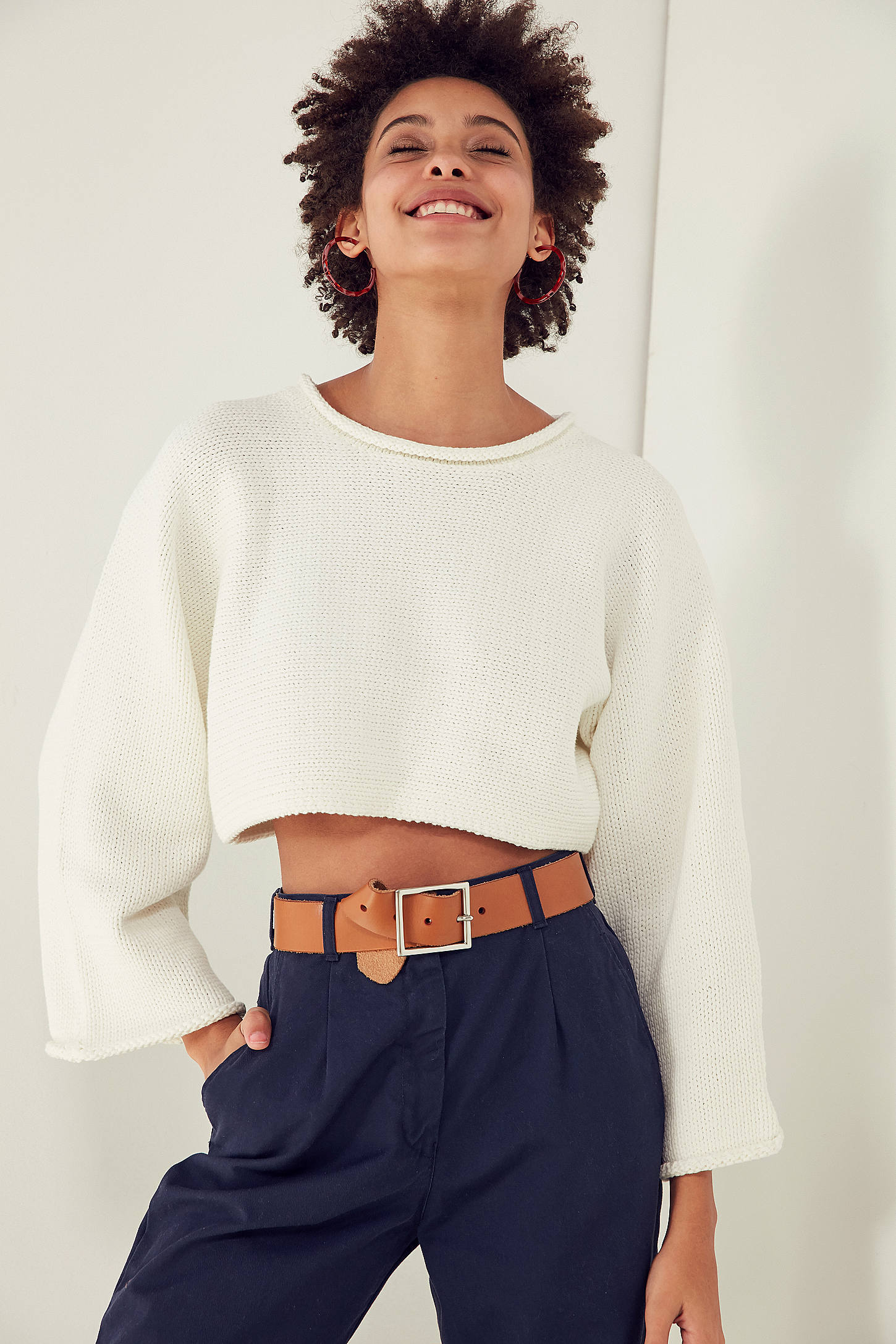 Very Goods Silence Noise Roll Neck Cropped Sweater Urban