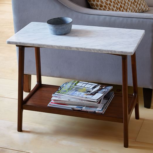west elm side table Very Goods | Reeve Mid Century Side Table   Marble | West Elm west elm side table