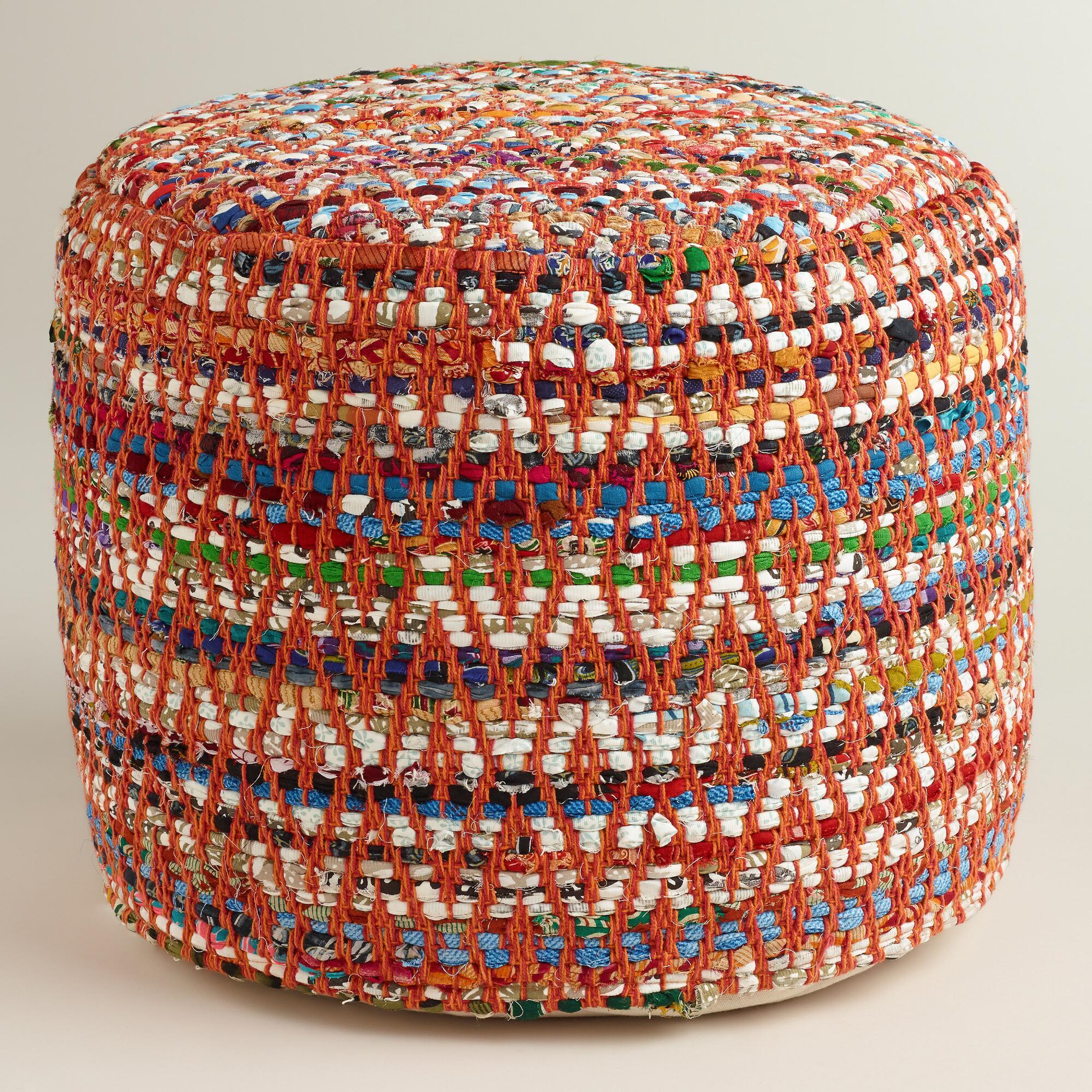 Very Goods | Multi-Color Round Chindi Pouf | World Market