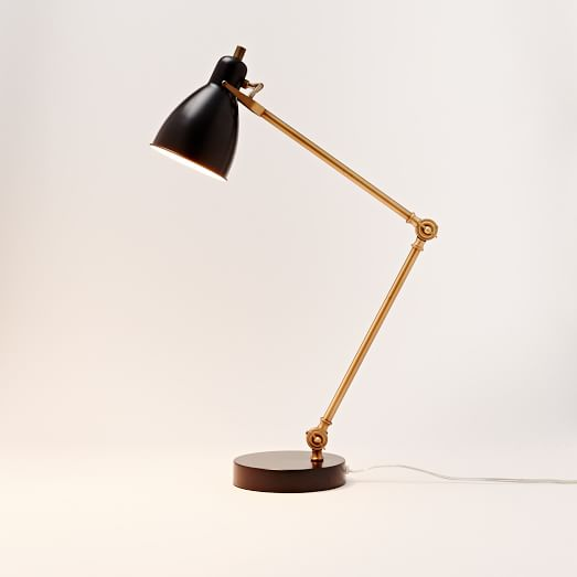 Very Goods Industrial Task Table Lamp Black Antique Brass