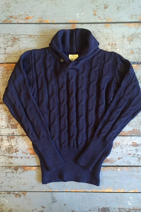 15cdf3b39794 Very Goods | North Sea Clothing The Marine Sweater Navy Cable Knit Wool -  Made in United Kingdom | Sweaters | Independence