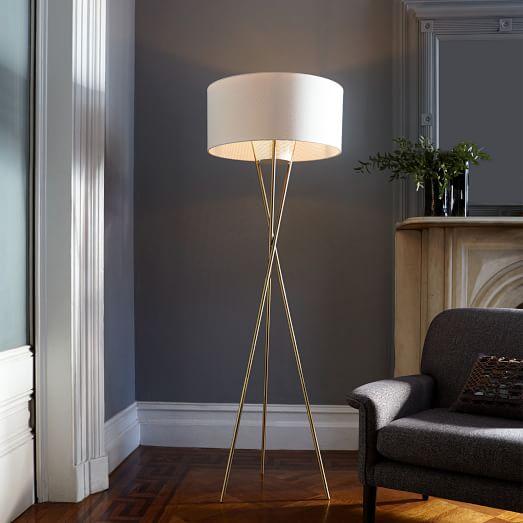 Very Goods Mid Century Tripod Floor Lamp Antique Brass West Elm