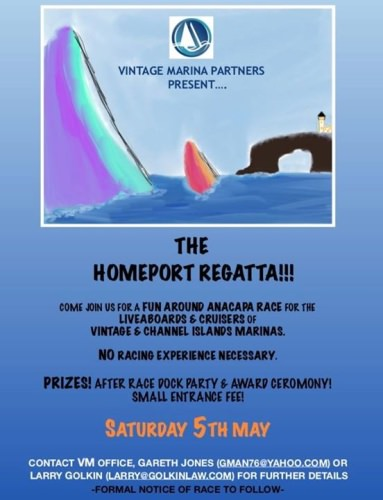 To our friends & clients of Vintage and Channel Islands Harbor Marina, mark your calendars and spread the word! May 5th will be the first ever VMP Homeport Regatta!