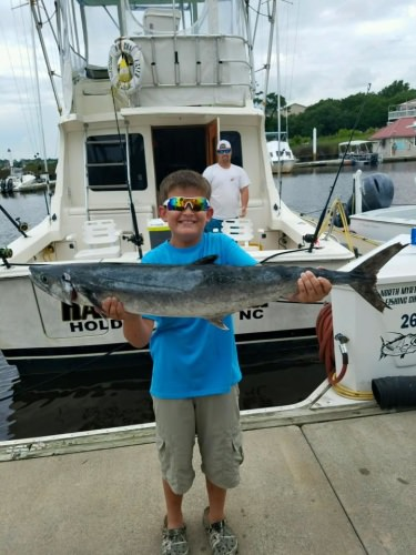 Awesome morning aboard the Kat-cha later with Jayson Plummer  catching his first king mackerel and helping reel in two nice cobia that unfortunately we had to release king bite was on fire with 15 kings and a handful of big Spanish