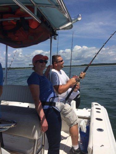 Fishing is family fun. Great way to kick off shark week. Great job Capt Josh for finding this great fish. #sharkweek
