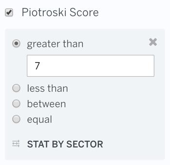 Filter Piotroski Score