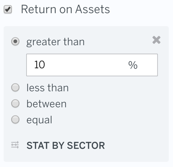 Filter Return on Assets