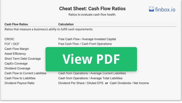 Cheat Sheet: The 10 Cash Flow Ratios