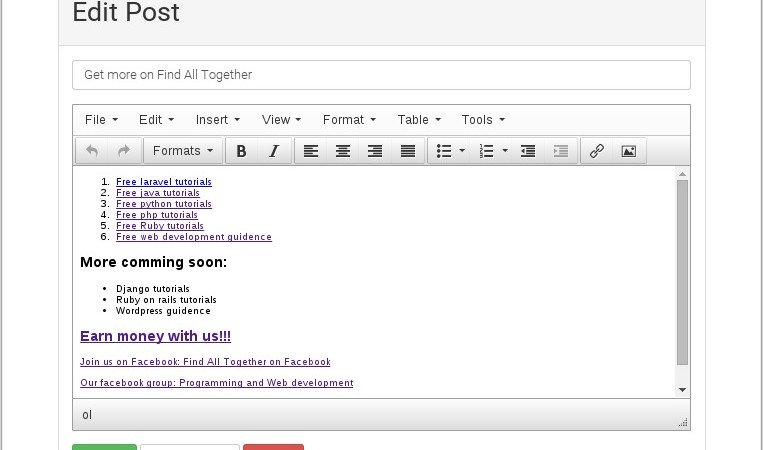 Edit post page with tinyMCE WYSIWYG editor