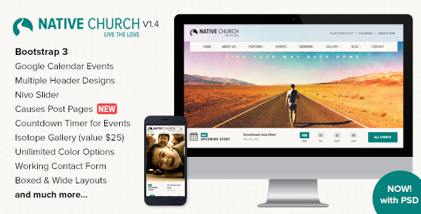 Ideal for any religious website, Native Church is a highly functional web template that has been designed to complement any non-profit or charity website.