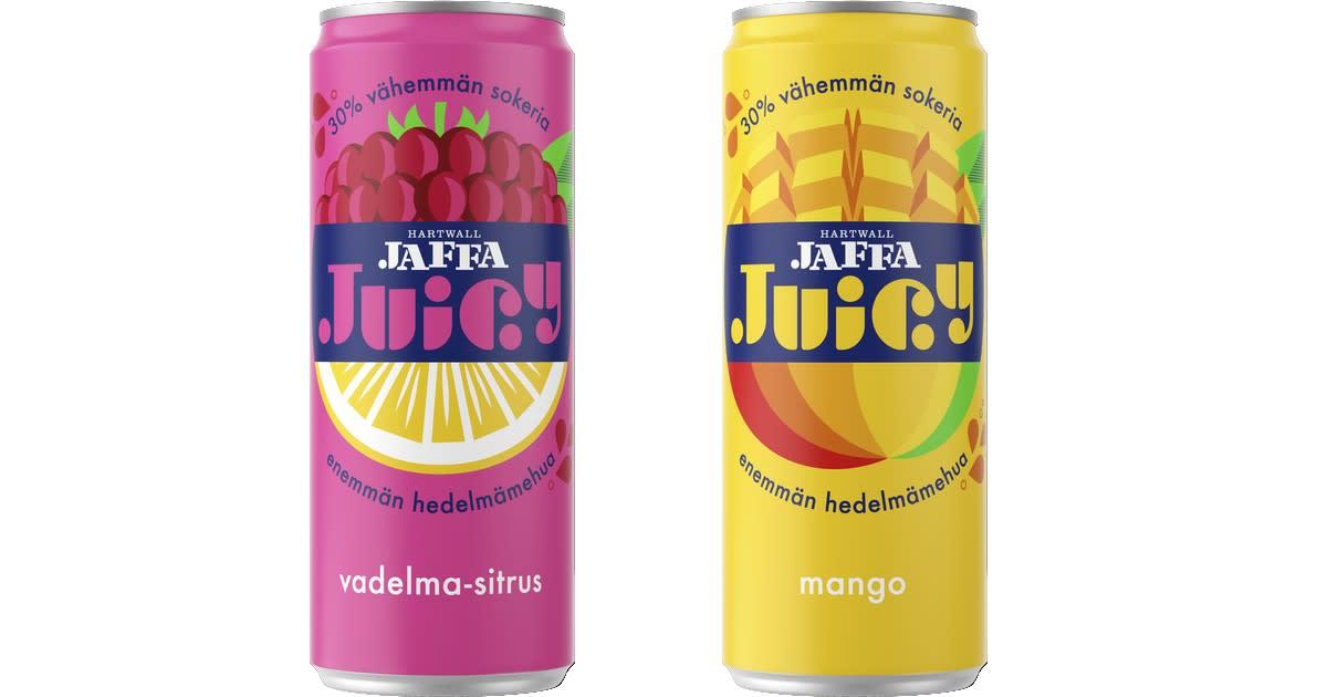 Hartwall-uutuus Jaffa Juicy sisältää hedelmämehua..