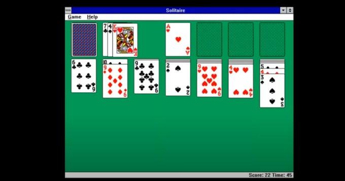 Tältä pasianssi näytti legendaarisessa Windows 3.1:ssä