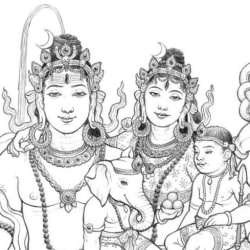 Shiva, Parvati, Ganesha and Skanda [detail].
