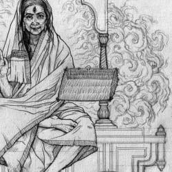 Preliminary drawing of Dhumavati [detail].