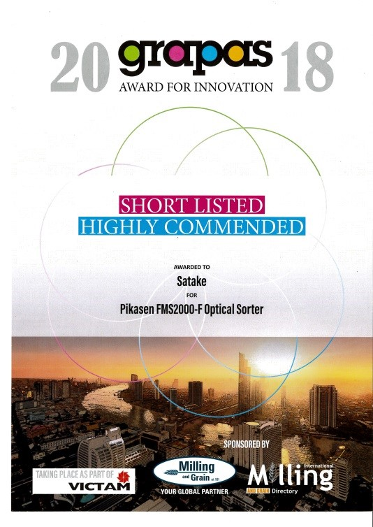 "Satake Pikasen FMS2000-F Optical sorter received ""Highly Commended"" at The GRAPAS Award for Innovation 2018"