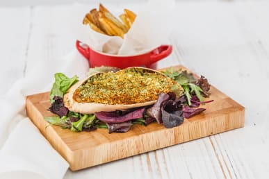 """Dressed to Impress"" Baked Crab with Chips & Green Salad"