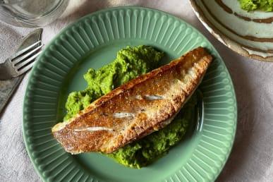 Gurnard pea pancetta puree