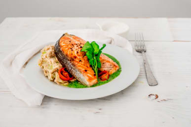 Salmon Steak with Butterbean Mash and Watercress Sauce
